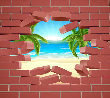 A tropical beach visible behind a brick wall. Concept for opportunity or a positive future, or just the chance of winning a vacation holiday.