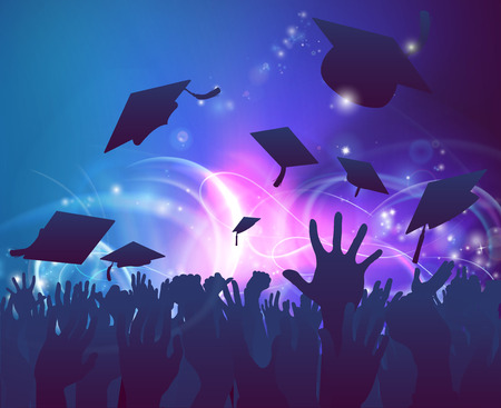 Graduation convocation crowd concept of student hands in silhouette throwing their mortar board caps celebrating with abstract background