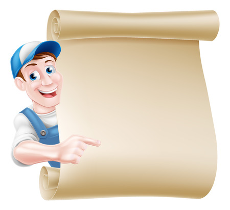 Pointing cartoon mechanic, plumber, handyman, decorator or gardener leaning around a scroll and pointing at it