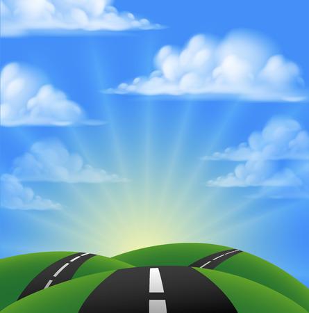 De dibujos animados camino pasando por colinas hacia el atardecer o amanecer