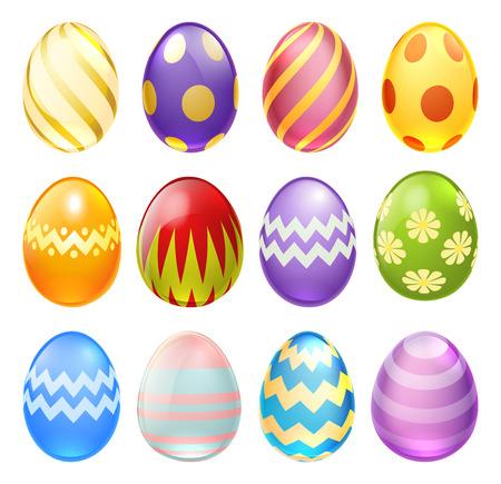Zestaw kolorowe zdobione czekoladowe jaja wielkanocne kreskówki do użytku w wielkanocne wzory Ilustracje wektorowe
