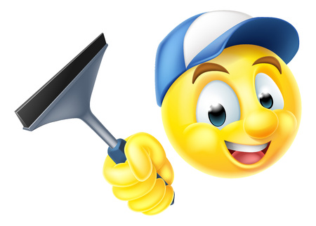 스퀴지를 들고 만화 이모티콘 이모티콘 웃는 얼굴 창 청소기 문자
