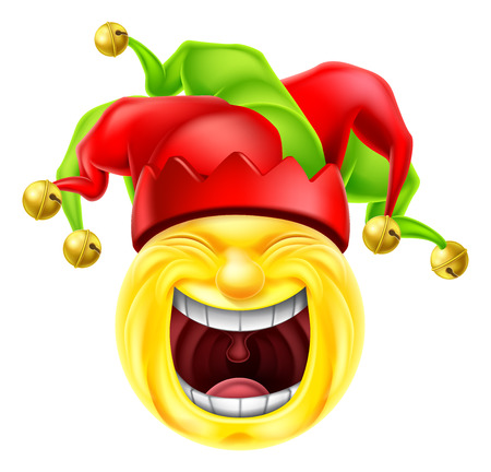 Un icono de dibujos animados emoción emoji bufón se ríe histéricamente Ilustración de vector
