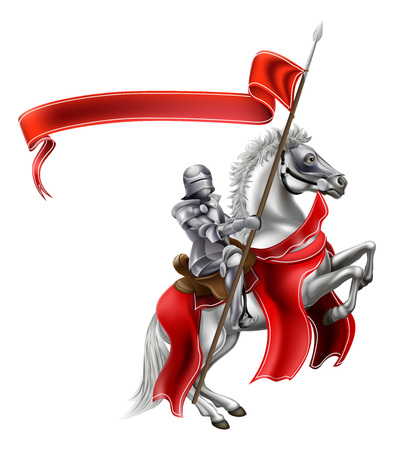 A medieval knight in shining armour on the back of a rearing white horse holding a red banner Ilustração