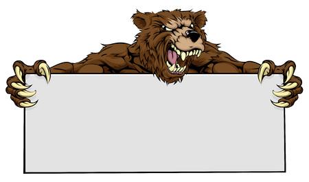 Un medio que mira la mascota de peluche que sostiene un signo Ilustración de vector