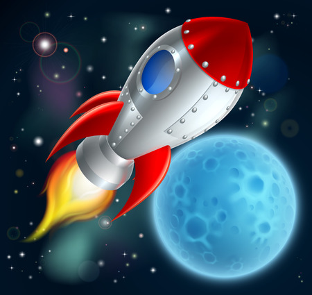 An illustration of a cartoon space rocket ship or space ship flying through space with a moon or planet in the background