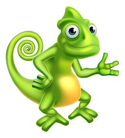 A cartoon chameleon lizard character mascot