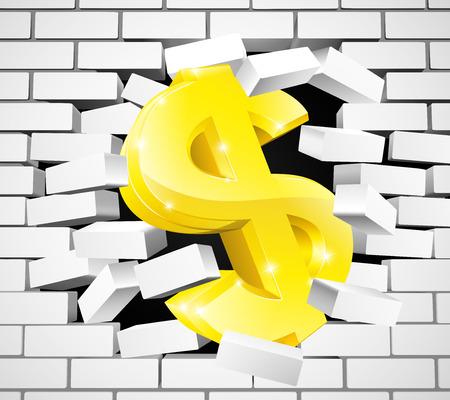 A gold dollar sign bursting through a white brick wall