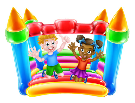 Cartoon boy and girl playing on a bouncy castle