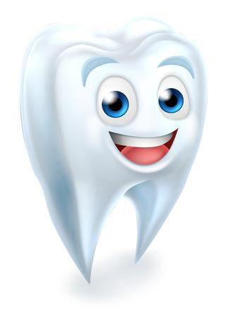 A cartoon cute tooth dental dentists mascot character