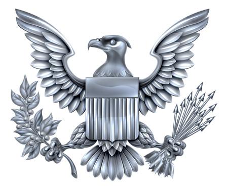 Argent Métallique American Eagle design avec aigle à tête blanche comme celle trouvée sur le grand sceau des États-Unis tenant un rameau d'olivier et des flèches avec le bouclier de drapeau américain