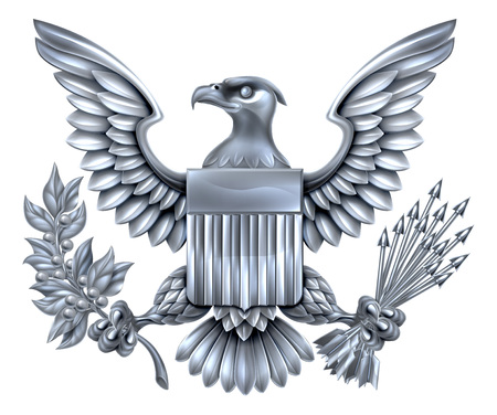 Silver Steel metal American Eagle Design with bald eagle like that found on the Great Seal of the United States holding an olive branch and arrows with American flag shield