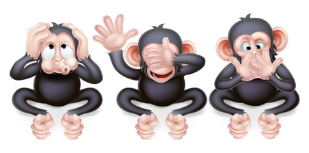 An illustration of the three wise monkeys, hear no evil, see no evil, speak no evil 版權商用圖片 - 54229208