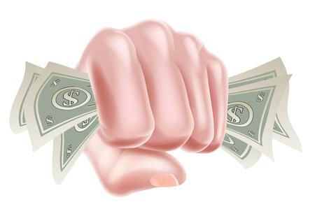 A cartoon hand holding money cash dollar bills