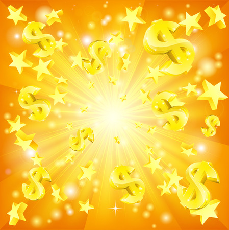 Dollar jackpot money and stars background Çizim