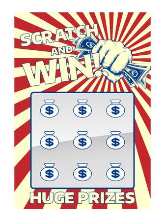 Una lotería instantánea de cero y ganar dinero en efectivo tarjeta de rascar con una celebración de puño Ilustración de vector