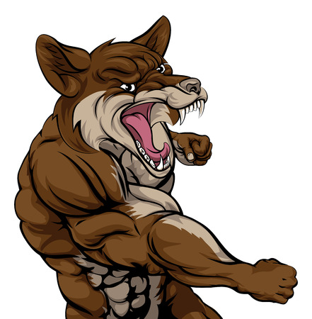 An illustration of a coyote animal sports mascot cartoon character fighting
