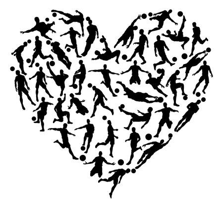 Voetbal voetbal silhouetten hartconcept van voetballer silhouetten gerangschikt in een hartvorm