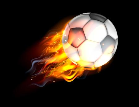 Una pelota de fútbol de fútbol llameante en el fuego volando por el aire Foto de archivo - 54229460