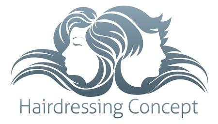 Faces of a handsome man and beautiful woman with flowing hair Illustration