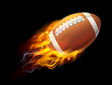 A flaming American football ball on fire flying through the air Illustration