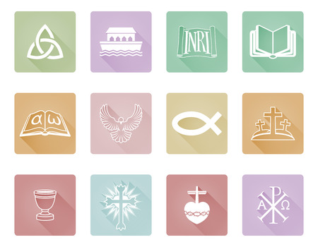 A Set Of Christian Icons And Symbols Including Chi Rho Alpha