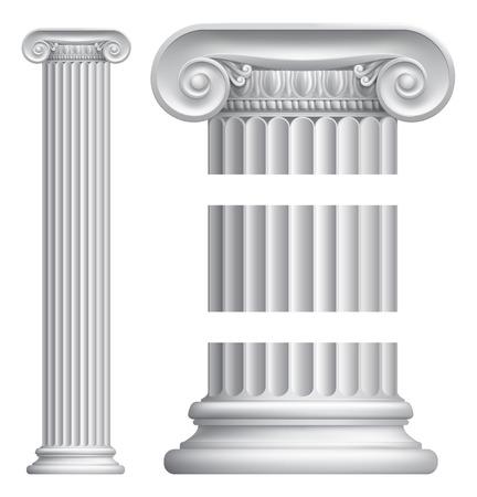고전 그리스 또는 로마 이오니아 열 기둥의 그림 일러스트