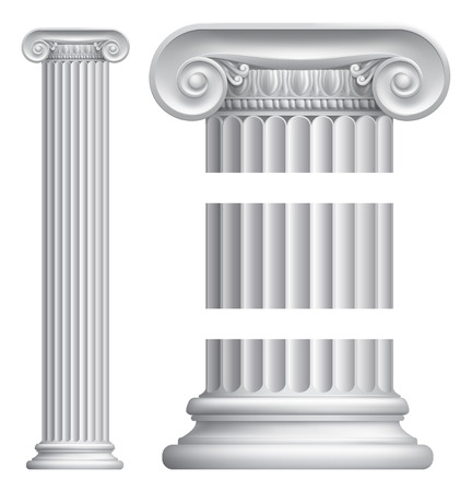 An illustration of a classic Greek or Roman ionic column pillar