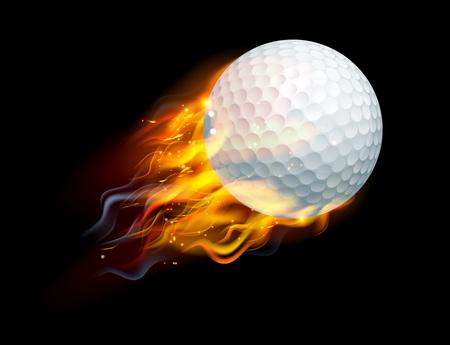 Una sfera di golf fiammeggiante sul fuoco che vola attraverso l'aria