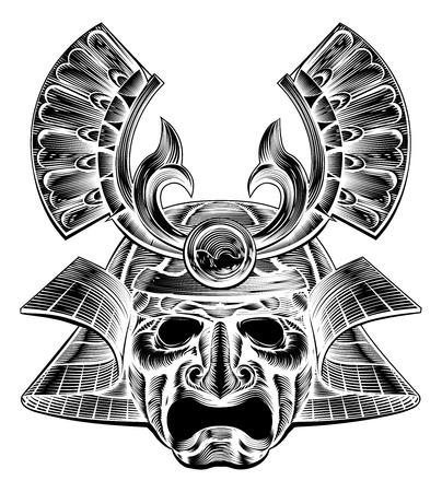 Un guerrero casco de la máscara del samurai en un estilo en madera de la vendimia
