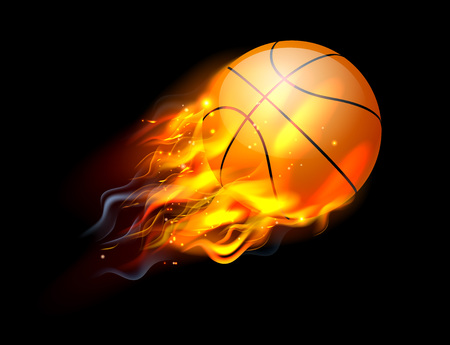 A flaming basketball ball on fire flying through the air