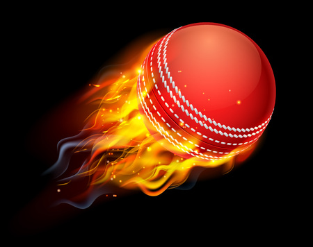 A flaming cricket ball on fire flying through the air Stock Illustratie