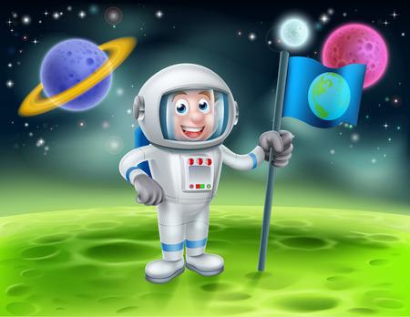 Una ilustración de una caricatura astronauta que sostiene una bandera en una luna o planeta con los planetas alienígenas en el fondo