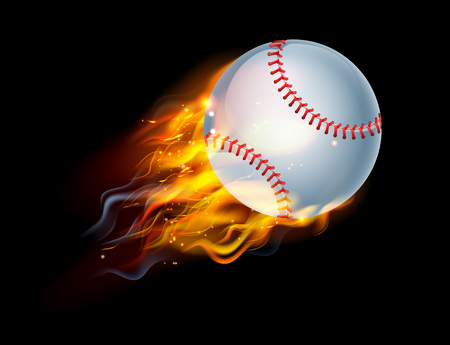 A flaming baseball ball on fire flying through the air