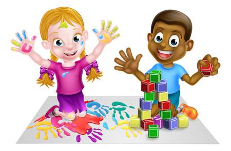 Dos niños jugando con las pinturas y los bloques de construcción de juguete
