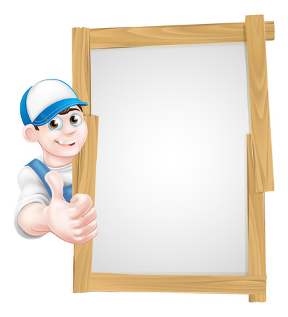Cartoon mechanic, plumber, handyman, decorator or gardener leaning around a wooden sign board and giving a thumbs up