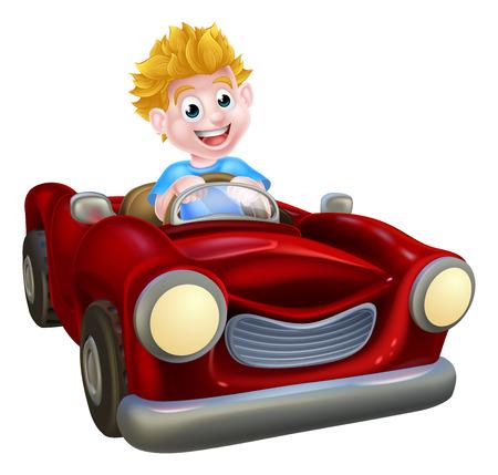 Een cartoon jongen met plezier het besturen van een rode auto