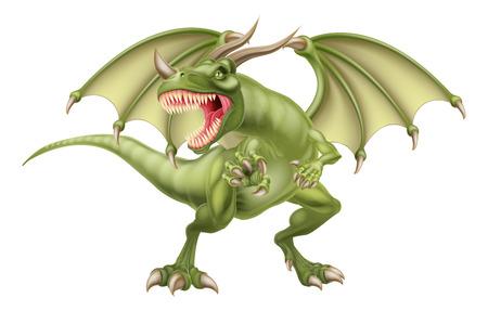 平均を探してファンタジーおとぎ話グリーン ・ ドラゴンのイラスト  イラスト・ベクター素材