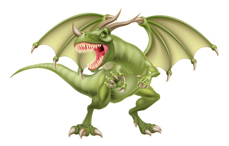 Een illustratie van een gemiddelde op zoek fantasie sprookje groene draak