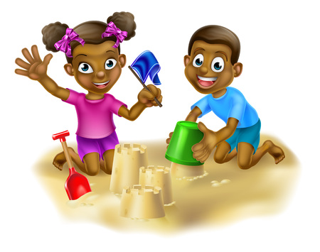 Cartoon boy and girl children, playing in a sand pit or on the beach making sandcastles together in the sand