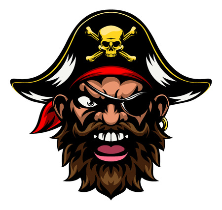 An cartoon mean tough looking pirate sports mascot character