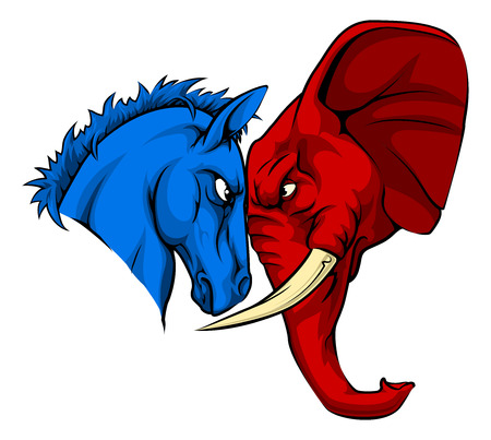 A blue donkey and red elephant facing off. American politics or election concept with animal mascots of the democrat and republican political parties Illustration