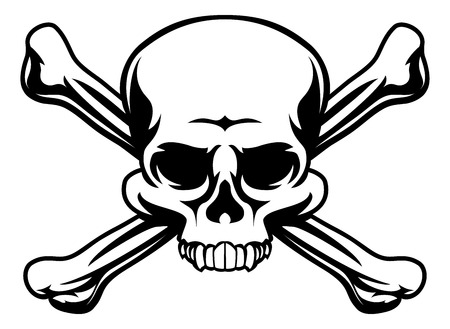 A skull and crossbones icon illustration like a pirates jolly roger sign Illustration