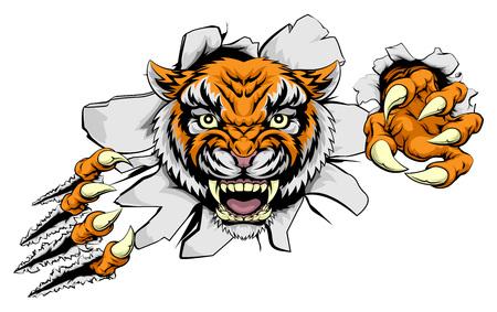 Tiger Tier Sport-Maskottchen Charakter durch zerreißt den Hintergrund mit seinen Krallen Standard-Bild - 54230214