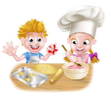 Cartoon chef cuisinier enfants pâtisserie et la cuisine desserts dans la cuisine