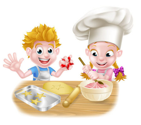 Cartoon chef kids baking and cooking desserts in the kitchen Ilustração