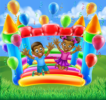 A happy boy and girl bouncing on a bouncy castle