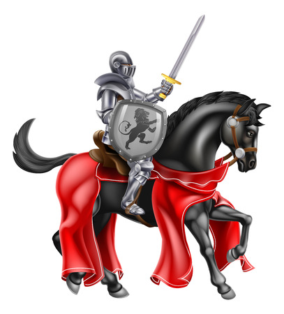 A knight on horse back holding a sword and shield with a lion heraldic motiff