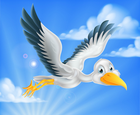 A happy cartoon stork bird animal character flying through the sky