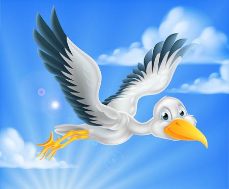 A happy cartoon stork bird animal character flying through the sky